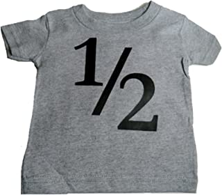Custom Kingdom Baby Boys' 1/2 One-Half 6 Months Old Birthday T-Shirt Gray