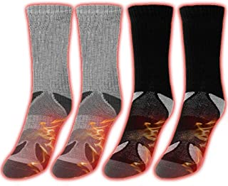 Unisex 2 Pairs Heated Socks, Super Thick Fuzzy Inside, Blend of Thermal Yarn, Heat Insulated for Cold winter weather