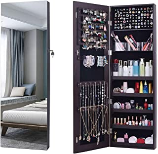 AOOU Jewelry Organizer Jewelry Cabinet,Full Screen Display View Larger Mirror, Full Length Mirror,Large Capacity Dressing Mirror Makeup Jewelry Armoire (Brown) … (Renewed)