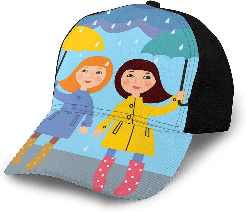 Unisex Baseball Cap Fits Men Women Washed Denim Adjustable Dad Hat for Adult,Cartoon Design of Two Little Females Standing Under The Rain