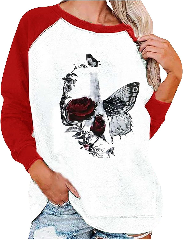 Sweatshirt Pullover for Women Butterfly Pattern Loose Shirts Raglan Long Sleeve Blouses Leisure Crewneck Tunics Tops
