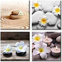 Paimuni Zen Canvas Wall Art Spa Still Life Stone Floral Painting Pictures for Home Decoration Modern Painting Wall Decor Canvas 12x12 Inches