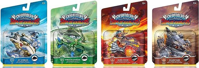 $44 » Skylanders SuperChargers Vehicle Character 4 Pack Bundle - Jet Stream , Stealth Stinger , Shark Tank , Burn Cycle - Air , ...