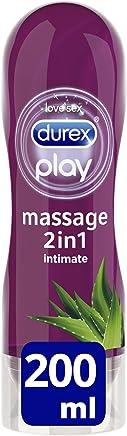 Durex Gleitgel Play 2-in-1 Massage Aloe Vera – Wasserbasiertes Gleitmittel mit pflegenden Aloeveraextrakten für sinnliche Liebesmassagen – 1 x 200 ml im Spender