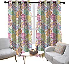 Lewis Coleridge Bedroom Curtain Paisley,Colored Patterned Backgrounded with Old Paisley Flowers and Circles Artwork,Multi Colored,Insulating Room Darkening Blackout Drapes 54