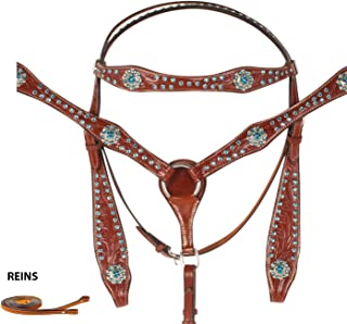 Crystal Tooled Blue Western Show Bridle REINS Breastplate Leather Horse TACK Set