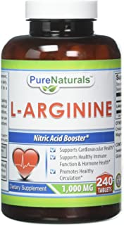 Pure Naturals L-Arginine 1000 Mg, 240 Tablets Supports Cardiovascular Health* Supports Healthy Immune Function & Hormone H...