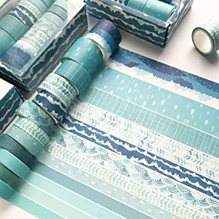YUBX 12 Rouleaux Washi Tape Ruban Adhésif Papier Décoratif Masking Tape pour Scrapbooking Artisanat de Bricolage (Blue Tra...
