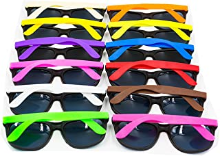 XKX 12PCS Neon 80's Style Party Sunglasses With Dark Lens...