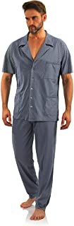 Pijama Hombre Botones Verano Algodón Pantalon Largo Camisa Corto