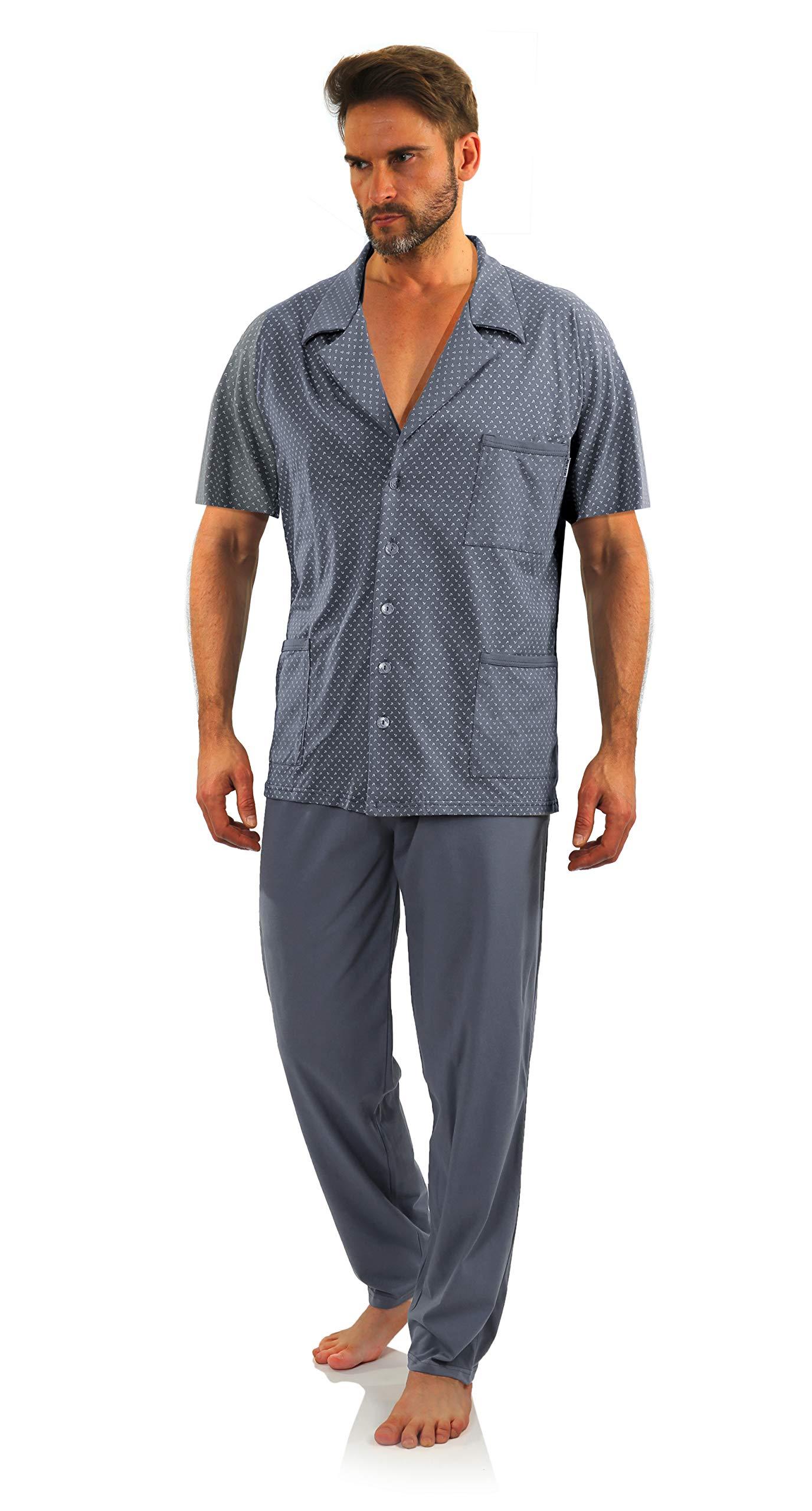 Pyjama Homme Boutonné Devant Coton Manche Courte Pantalon Long