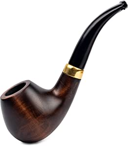 Dr. Watson - Wooden Tobacco Smoking Pipe, Classic Bent Apple Shape, Fits 9mm Filter, Comes with Pouch, Boxed (Brown)
