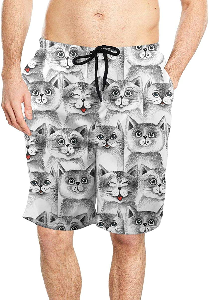DASMUS Cute Cats Background Mens Drawstring Beach Board Shorts Swim Trunks with Mesh Lining