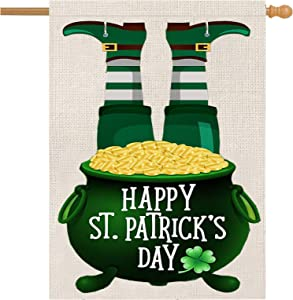 ZUEXT Happy St. Patrick Day House Flag 28 x 40 Inch Vertical Double Sided, Burlap Farmhouse Green Clover Coin Pot Irish Yard Flag, Spring Seasonal Shamrock Home Flag for St.Patrick Party Decor
