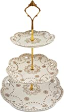 Truffula Forest TFCS0033G 3 TIER SCALLOP GOLD EMBOSSED DESSERT STAND (GOLD) White