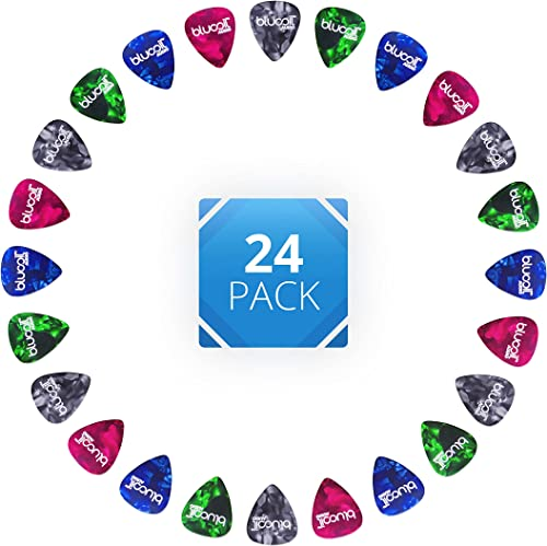 popular Blucoil Audio Celluloid high quality Guitar Picks for Rhythm Playing, Alternate Picking, String Skipping, online Arpeggios, and Guitar Soloing in Green, Red, Blue, Black (24-Pack, Medium) online sale
