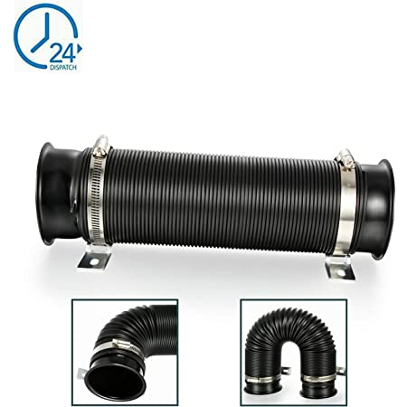 Black Body /& Gold End 75mm SUNDELY/® Universal Flexible Extensible Extendable Auto Vehicle Turbo Intake Inlet Duct Cold Air Feed Ducting Pipe Tube Hose 3 inch