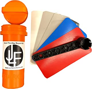 JLF Repair Kit for Inflatable Stand Up Paddle Boards (SUP) | Includes Red, White, Blue, Clear and Grey PVC (No Adhesive)