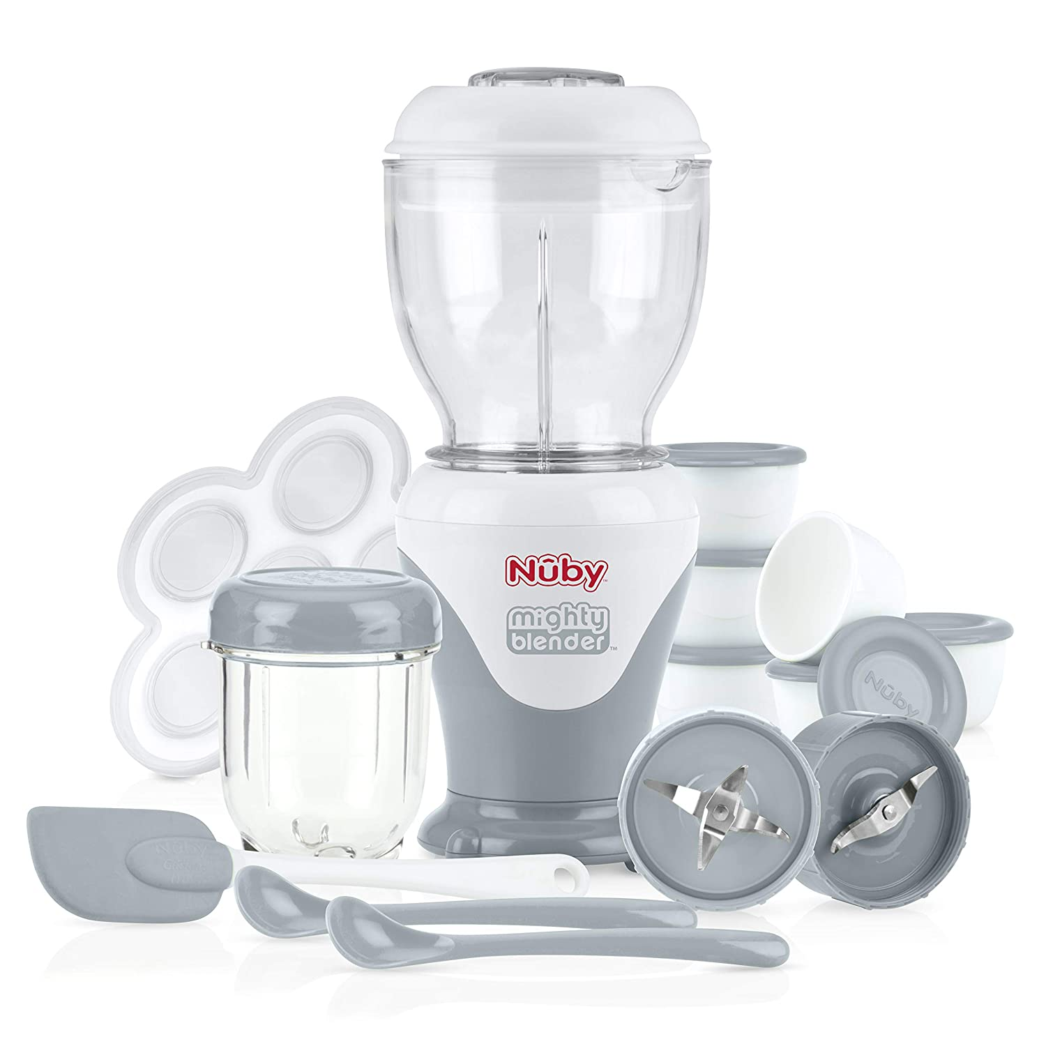 Nuby Mighty Blender with Cook Book, 22-Piece Baby Food Maker Set, Cool Gray