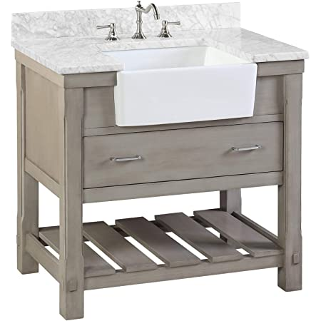 Charlotte 36-inch Bathroom Vanity (Carrara/Weathered Gray): Includes Weathered Gray Cabinet with Authentic Italian Carrara Marble Countertop and White Ceramic Farmhouse Apron Sink