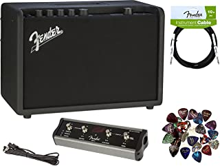 Fender Mustang GT 40 Guitar Amplifier Bundle with MGT-4 Footswitch, Instrument Cable, 24 Picks, and Austin Bazaar Polishing Cloth