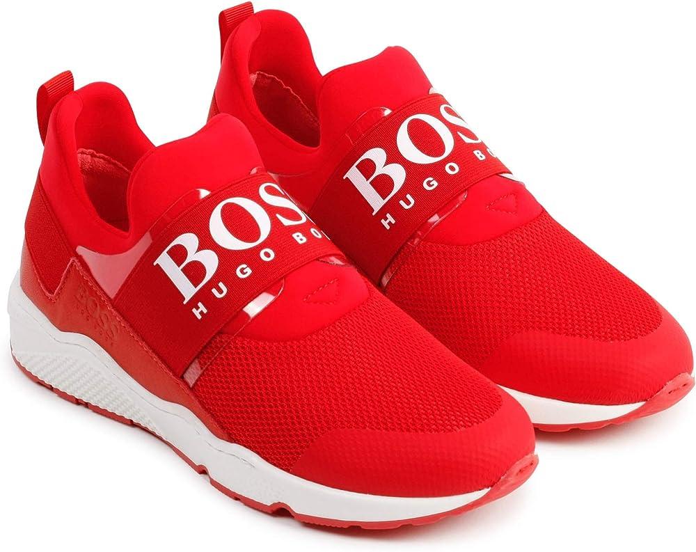 Boss , scarpe sportive, sneakers per bambino/ragazzo  , in pelle e tessuto E21
