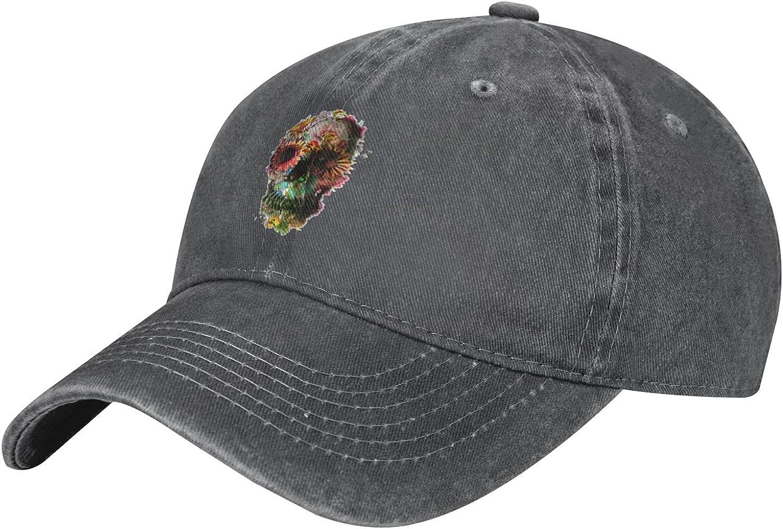 Flower Skull Black Kids Baseball Adjustable Miami Mall Distressed-Washe Cap Popular brand