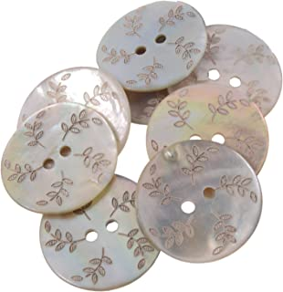 Akoya Shell Button with Laser -Leafs Designs - 2 Hole - 36 Line - Natural