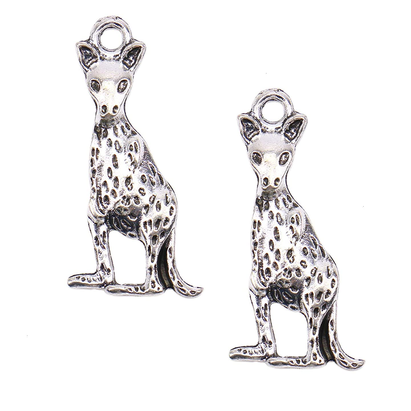 Monrocco 50pcs Kangaroo Charms Pendant Bead for Jewelry Making Bracelet DIY Crafting (Antique Silver)