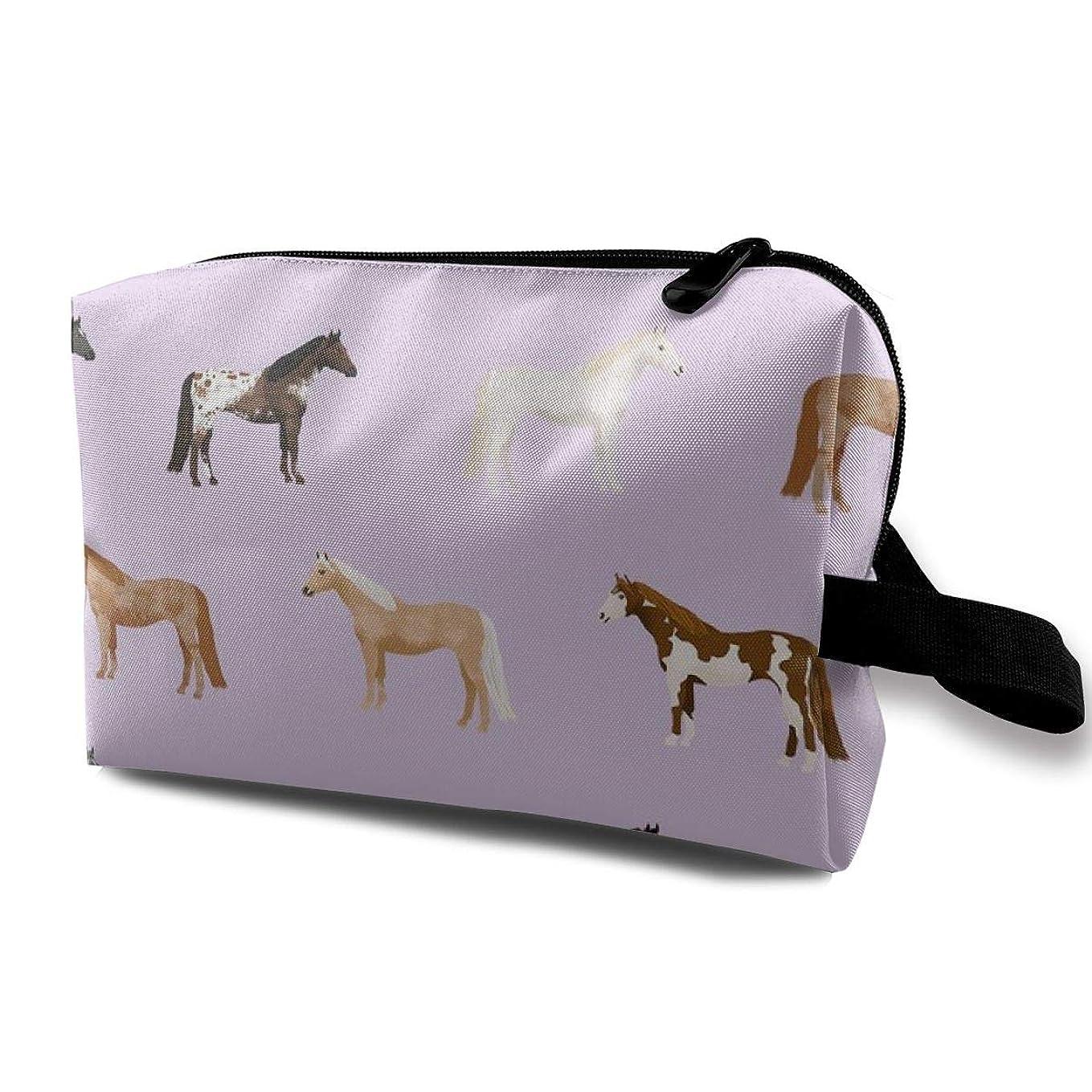 男個人花瓶化粧ポーチ コンパクトサイズ,馬のコート馬の品種馬生地Purple_3450、オックスフォード布カラフルバッグミニ旅行