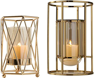 Lighting Glass Hurricane Vase Glass Candle Holder Vase Clear Glass Hurricane Lamp Shade Diameter 3.9 Height 4.9 Set of 2