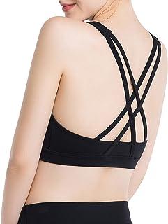 ANIMQUE Sujetador deportivo para mujer, elegante, espalda en X, cuello alto, acolchado, con intensidad