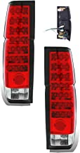 SPPC Red/Clear LED Tail Lights Assembly Set For Nissan Hardbody - (Pair) Driver Left and Passenger Right Side Replacement