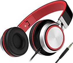 On Ear Headphones, Honstek Lightweight Foldable iPhone Headphones for Kids Girls Boys, Wired Stereo Comfortable Headset Compatible with iPhone iPad PC Xbox Tablets MP4 (Black/Red)