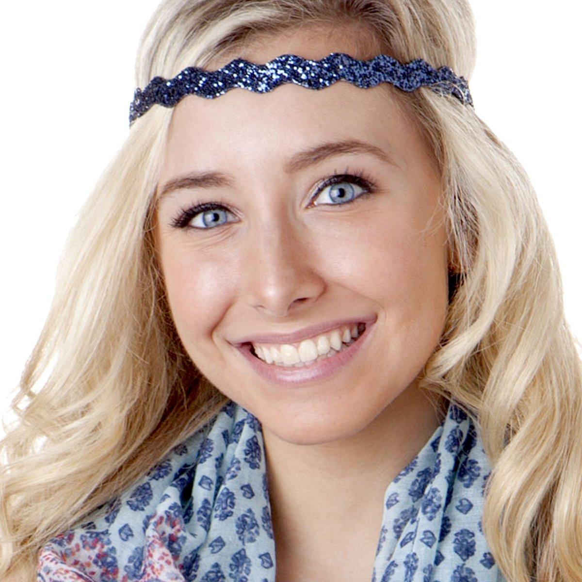 Hipsy Adjustable Non Slip Wave Bling Glitter Headband for Women Girls & Teens (Navy Blue)