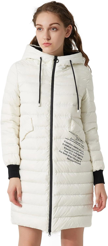BOSIDENG Women's Down Jacket Hooded Lightweight MidLong Outerwear Ladies Zipper Jacket Casual Coat