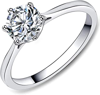 Stainless Steel Solitaire Ring, Wedding Engagement Promise Ring for Women, 1/1.3/4 Carat Cubic Zirconia, Ring Size 5 6 7 8 9 10 11 (Optional with CZ Stud Earrings)