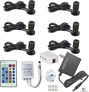1.5W 12VDC Dimmable LED Mini Spotlight Jewelry Showcase Display Lights Black Shell Surface Mount with Wireless IR Dimmer (Pack-6,Cold White)