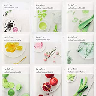 Innisfree My Real Squeeze Mask EX Sheet Mask Variety Set 9 Pack Bundle in a Customized Gift Packaging