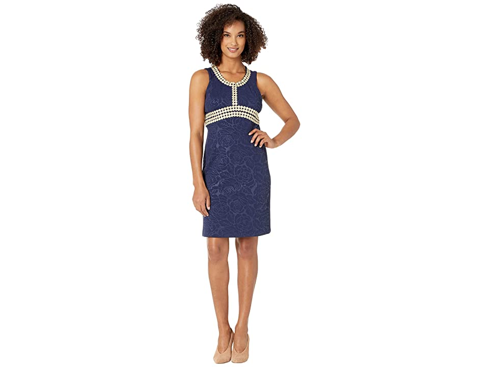 Pappagallo The Mandy Dress Stamped Floral (Navy/Gold) Women