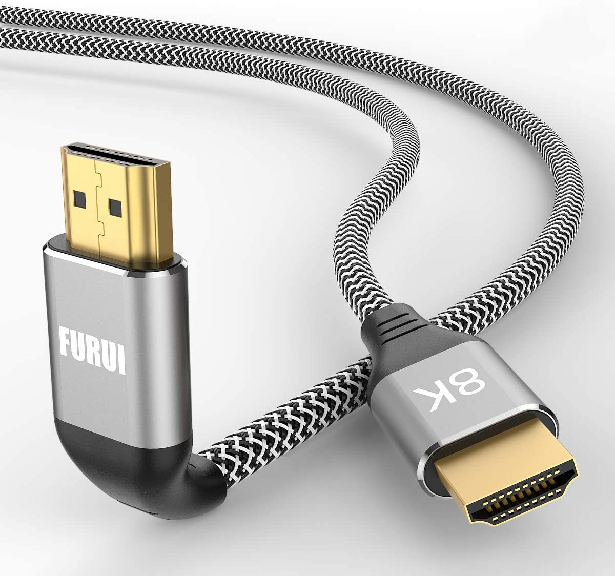 8K HDMI Cable 10ft, FURUI Nylon Braided 2.1 HDMI Cable, CL3 Rated Support Dolby Atmos, 8K@60Hz, 4K@120Hz, Ultra Speed 48Gbps, eARC, HDCP 2.2 & 2.3, Dynamic HDR Compatible with Apple TV, Roku, Xbox