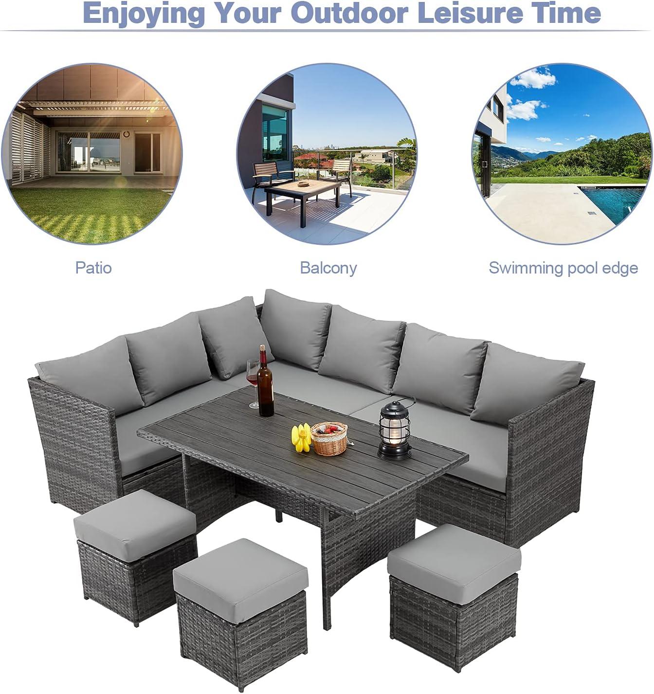 Buy U MAX 20 Pieces Outdoor Patio Furniture Set,Wicker Patio ...