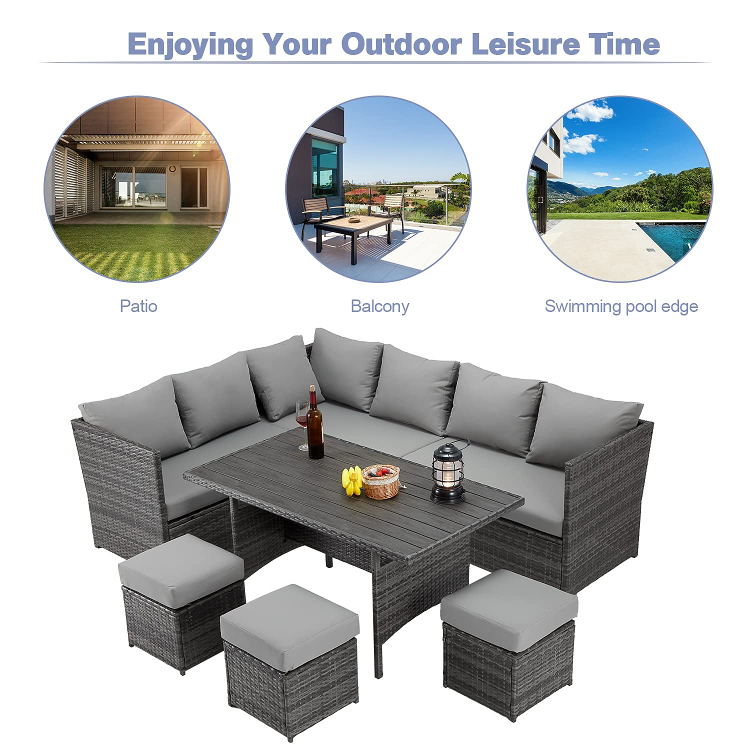 U-MAX 7 Pieces Outdoor Patio Furniture Set,Wicker Patio Furniture Set with Table and Chair, Outdoor Furniture Sets Clearance,Grey Rattan Outdoor Sectional with Grey Cushion