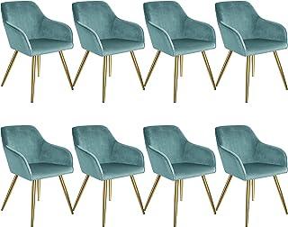 tectake 800864 Set de Ocho sillas aterciopeladas, Juego de Ocho sillas de Comedor tapizadas en Terciopelo, Conjunto de sillas Elegantes para la Cocina, Sillones para despacho (Azul Turquesa-Dorado)