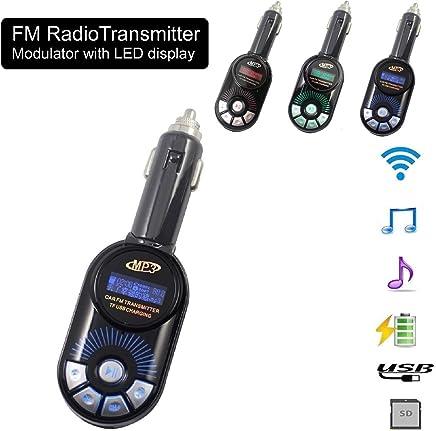 REALMAX/® Transmetteur radio FM universel pour voiture Sans fil avec /écran LCD 2 emplacements USB Fente pour carte SD 3,5 mm Port auxiliaire Lecteur MP3 musique tous les smartphones Android iPhone Ipad
