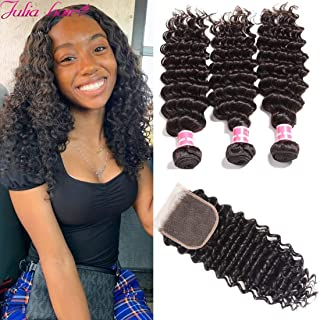 Ali Julia Hair 10A Malaysian Virgin Deep Wave Hair Weave 3 Bundles with Closure 100% Unprocessed Remy Human Hair Weft Extensions 95-100g/pc Natural Black Color (18 20 22+16