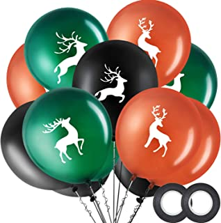 Buck Deer Party Balloons Set, Includes 48 Pieces Woodland Latex Deer Balloon and 2 Rolls Black Band for Lumberjack Camo Chirstmas Party Decorations