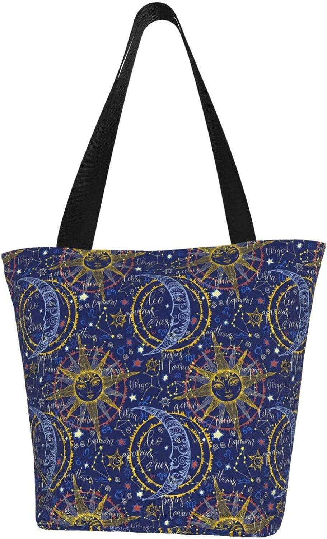 Cancer Zodiac Constellation Sun Moon Stars Themed Printed Women Canvas Handbag Zipper Shoulder Bag Work Booksbag Tote Purse Leisure Hobo Bag For Shopping