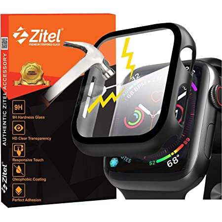Zitel Case Bumper Cover with Built-in 9H Tempered Glass Screen Protector Compatible with Apple Watch 40mm Series 6, SE Series, 5 Series, 4 Series Edge-to-Edge 360 Degree Smart Defense - Matte Black