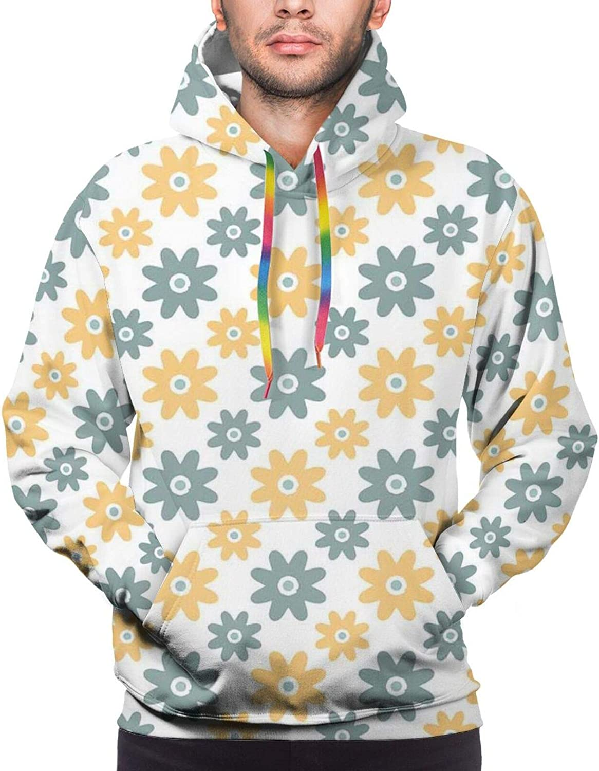 Men's Hoodies Sweatshirts,Lively Colors Cartoon Arrows with Geometric Shapes Kiss Hearts Phrase